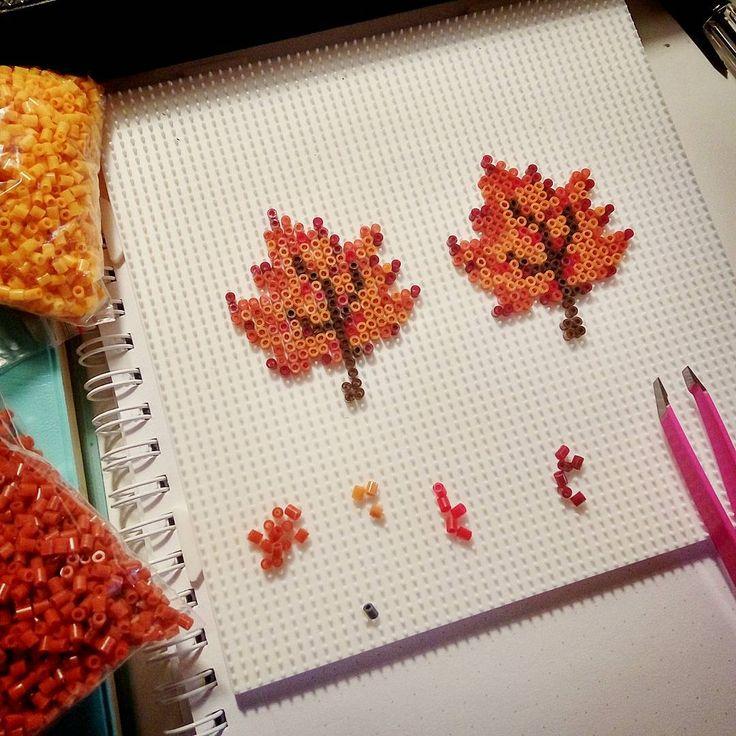 Autumn leaves mini perler beads by  purrrluce                                                                                                                                                     More
