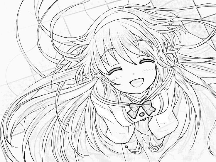 cute anime girl coloring page coloring pages