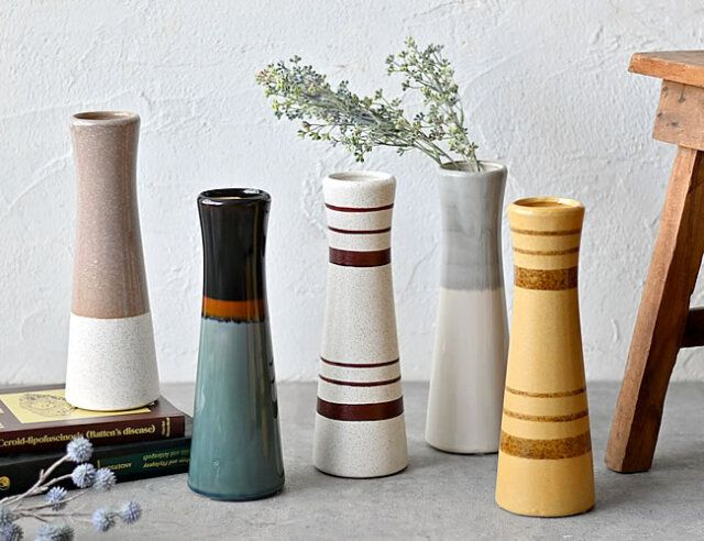 Drum タワーベース 陶器フラワーベース ゼネラルストア オルネ 2021 フラワーベース どんより 陶器