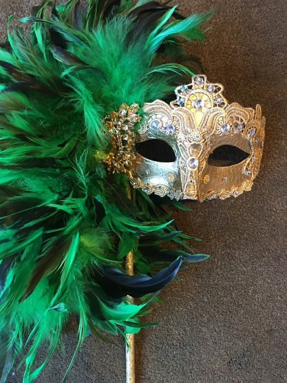 Mardi Gras Netting Brocade Lace Feather Masquerade Prom Wedding Mask