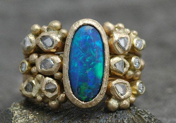 Custom Stacking Ring Set- Diamond, Black Opal, Raw Diamonds, and Diamond Melee on Recycled 18k Gold- Deposit