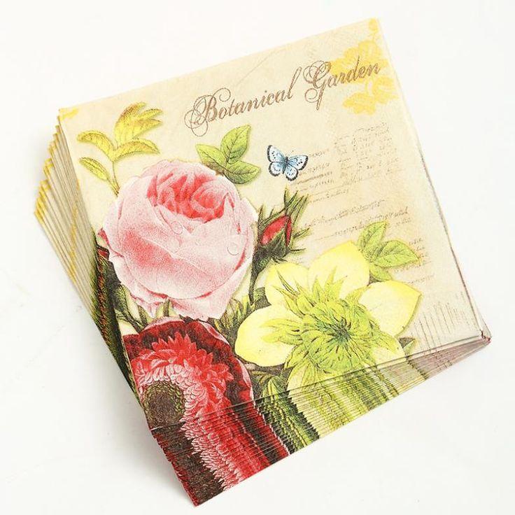 2 х Декупаж Napkins-25 * 25 см 3-слойная свадебные салфетки для декупажа, цветок бумажные салфетки decoupage-4NC1967B