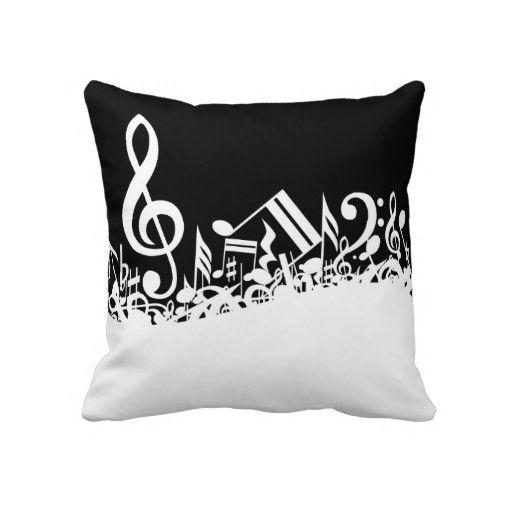 Jumbled Musical Notes Throw Pillow