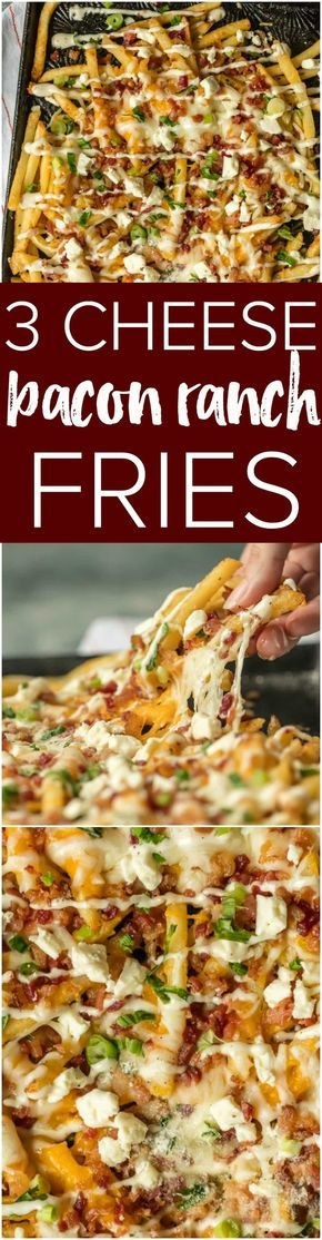 Nothing makes game day delicious more than 3 CHEESE BACON RANCH FRIES. This easy and fun appetizer takes crispy fries and tops them with ranch seasoning, bacon, cheddar, mozzarella, and feta. via @beckygallhardin