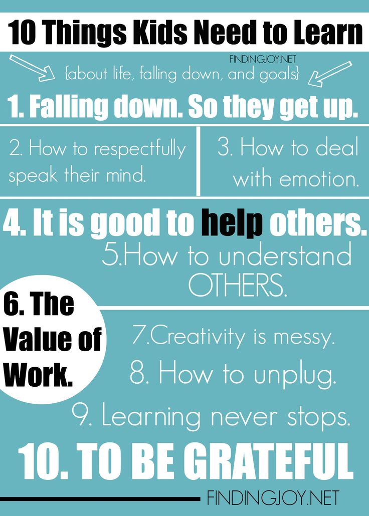 Ten Things Kids Need to Learn. These things matter