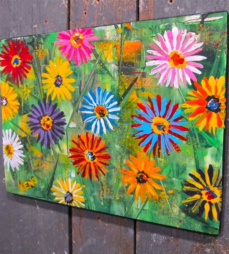 MiXED DAiSYs~painting Maine FOLK ART Outsider~COASTWALKER