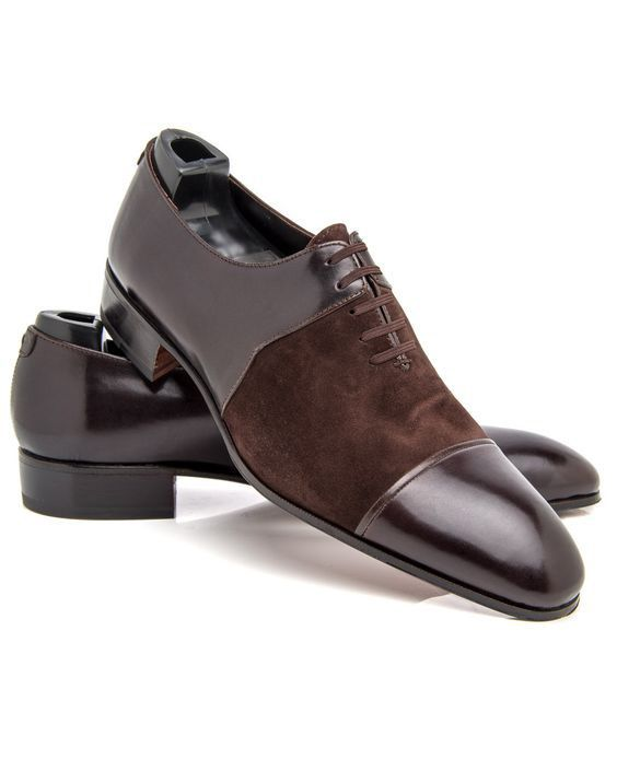 Handmade Men Simple Cap Toe Suede and Leather Dress Shoes, Men formal shoes - Dress/Formal