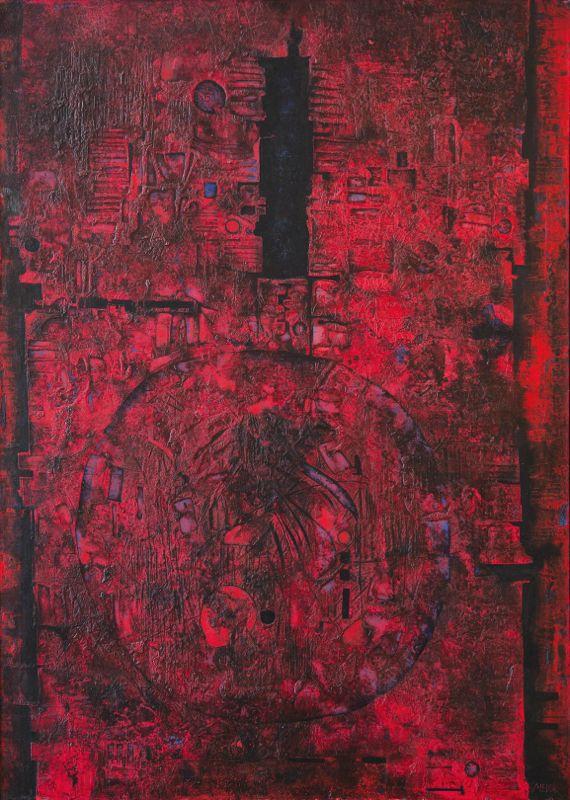 Mikuláš Medek (1926-1974), Stavba s malým černým tichem, 1961/62, olej, vrypy, plátno, 162 x 115 cm