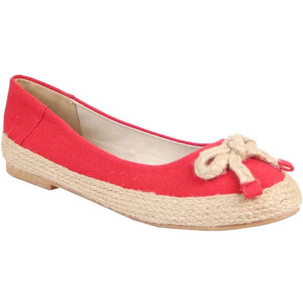 Nomad Women's Crew Flats ($38) ❤ liked on Polyvore featuring shoes, flats, red, espadrilles shoes, flat espadrilles, flat pumps, flat pump shoes and striped espadrille flats