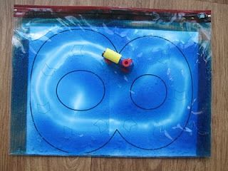 Sensory Bags - Pre-writing Skills   Love the idea of putting numbers or letters inside and driving cars and trucks on them.