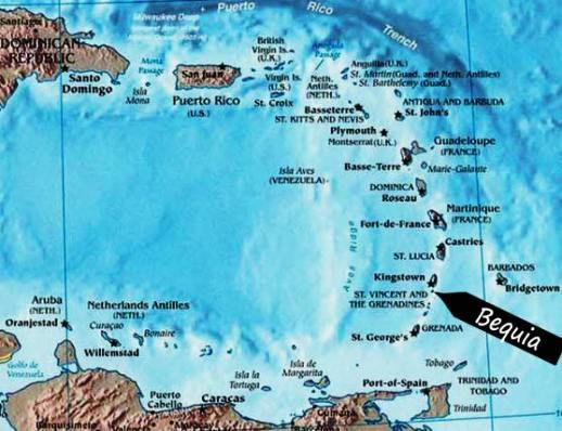 Caribbean Map showing the location of Bequia