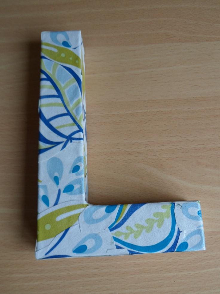 Cardboard letter decoupaged with wallpaper sample gotta for 24 cardboard letters