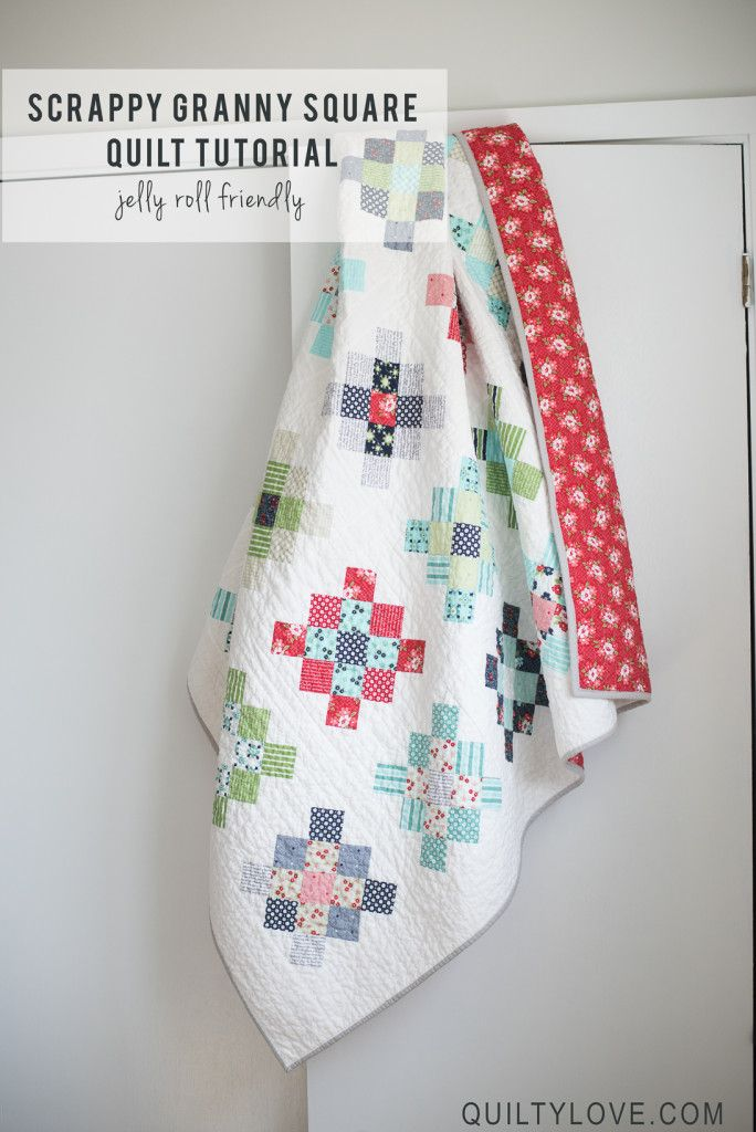 Quilty Love | Scrappy Granny Squares Quilt Tutorial | http://www.quiltylove.com