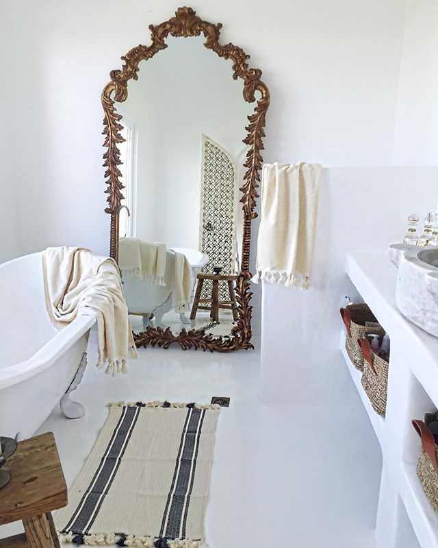 The softest, ever, organic cotton towels by Cloth & Co are available at our Bisque store. Available in cream, as shown in my bathroom, also pure white, and charcoal. The soft cotton Turkish striped bath mat is available, too. Call in to see our full range of luxurious bath and bedding range  The mirror, recycled wood stool and baskets are part of our Bisque range and are available both wholesale through your closest Bisque agent and retail www.brauerbirds.com.au / 12 Station Street…