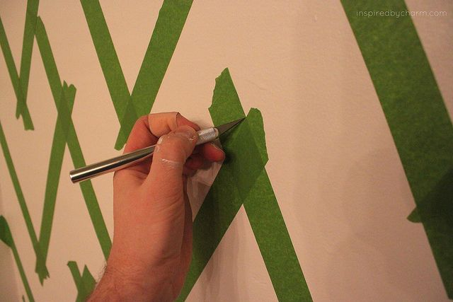 How to paint a chevron striped wall. maybe for a nook or backdrop