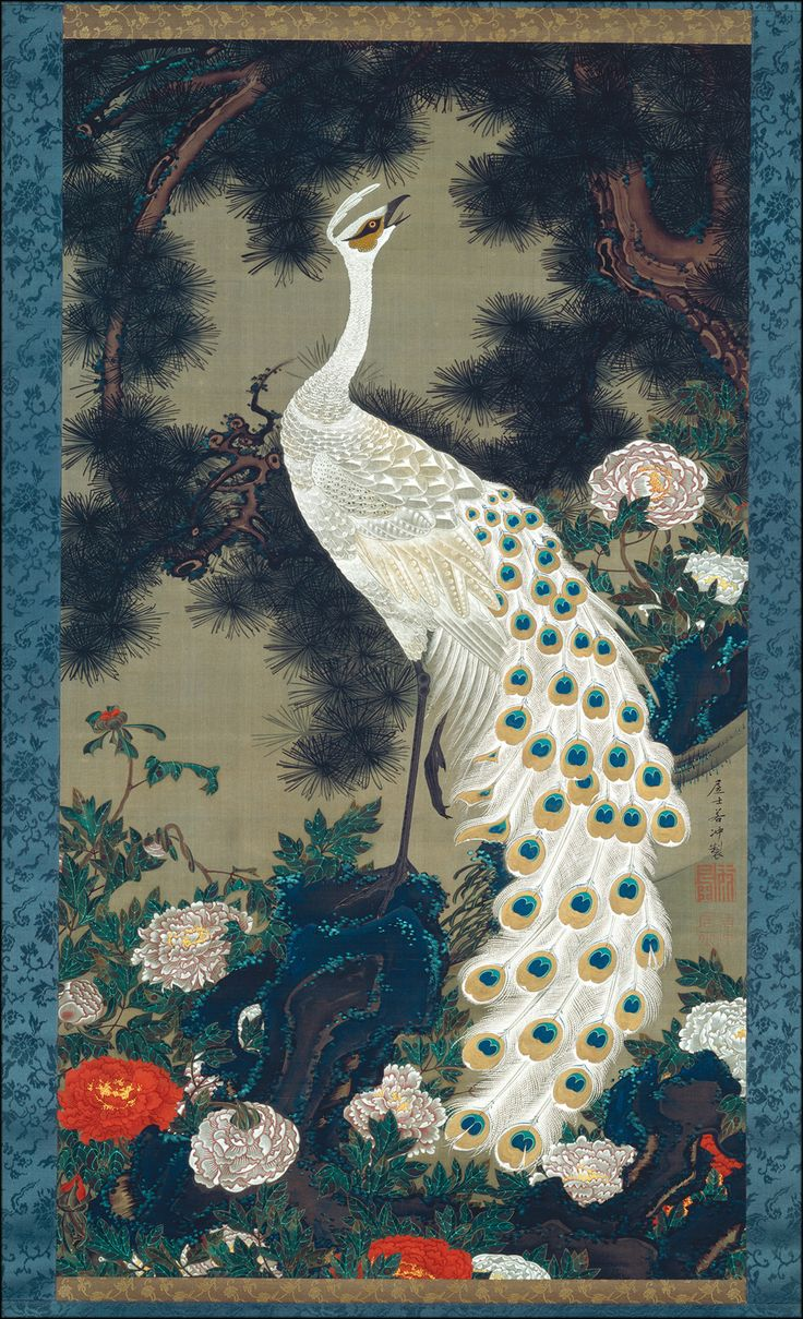 """  Itō Jakuchū (Japanese, 1716-1800), Old Pine Tree and Peacock """