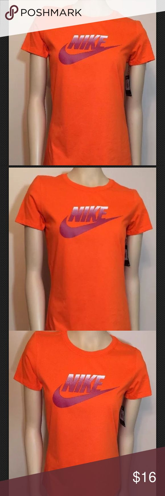 """Nike Futura Fade Orange TShirt Slim Fit M Nike Futura Fade Nike Swoosh Women's TShirt. Size Medium. 100% Cotton. Slim fit style. New with tags. 17"""" Armpit to armpit and 25.5"""" long. Retail $25.00 I ship on the same or next day from a smoke free home. I try to describe items honestly and price them fairly. Please feel free to ask any questions or make an offer. I'm happy to help. Nike Tops Tees - Short Sleeve"""