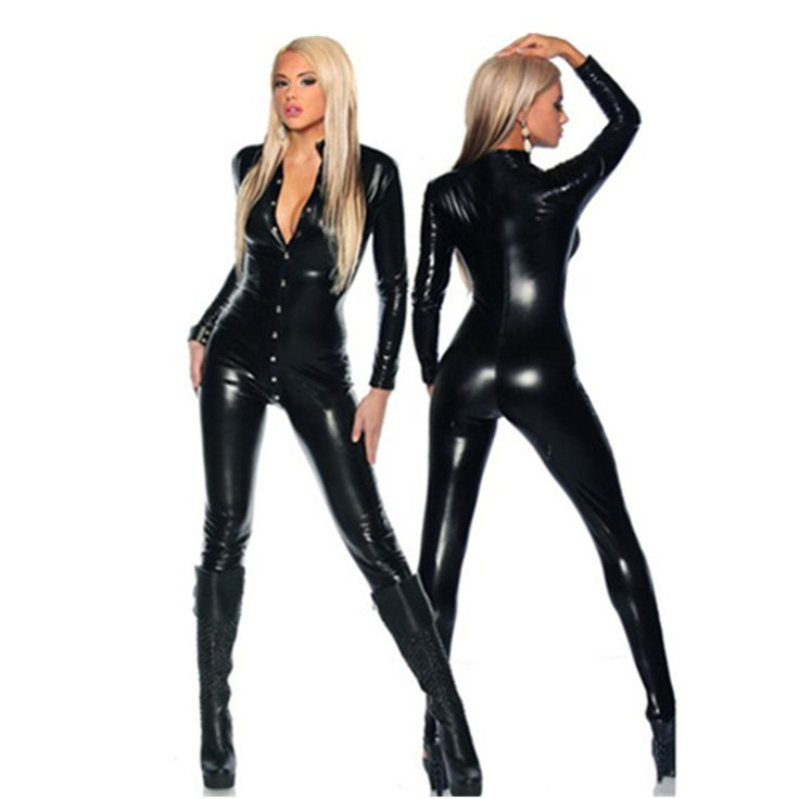 2017 Sexy Lingerie for Women Black Faux Leather Tank Jumpsuit Hot Sexy Deep V Tigh Leather Bodysuit PVC Fetish Gothic Costume #Affiliate