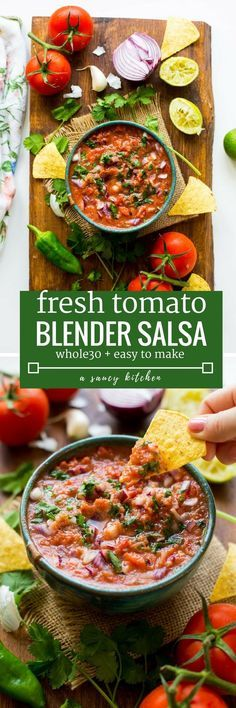 Easy 10 minute Fresh Tomato Salsa made in the blender - fresh tomatoes, cilantro, garlic, onion, jalapeño & lime blitzed together to make the perfect homemade salsa! Gluten Free + Whole30