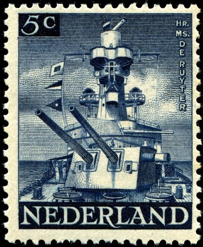 Stamp depicting the business end of the Royal Netherlands Navy's light cruiser HNLMS De Ruyter, commissioned in 1936, and sunk by a single Japanese torpedo during the Battle of the Java Sea, February 27-28, 1942. This stamp was designed by Prof. J.B. Romein, engraved by A.B. Hill, printed by Bradbury Wilkinson & Co., Ltd., and issued by the Netherlands government in exile in London on June 15, 1944, primarily for use on Dutch warships, Scott No. 265, SG No. 598. Also, here is a photo of the…