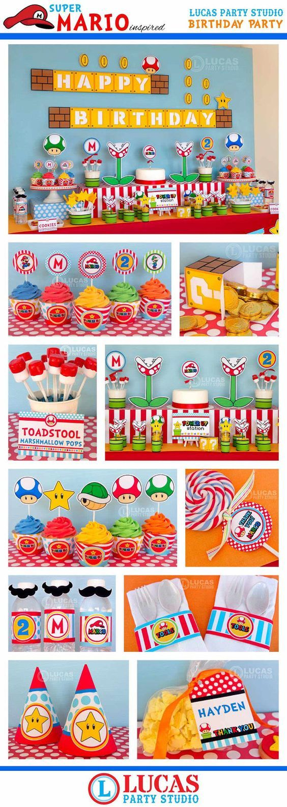 Super Mario Inspired Birthday Party – PRINTABLE Personalized Package