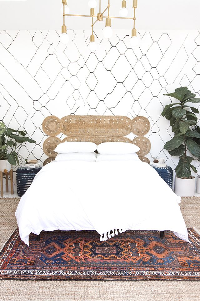DIY woven headboard via Sarah Sherman Samuel
