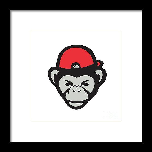 Chimpanzee Head Baseball Cap Retro Framed Print by Aloysius Patrimonio.  Illustration of chimpanzee baseball player catcher viewed from front set on isolated white background done in retro style. #illustration #ChimpanzeeHead