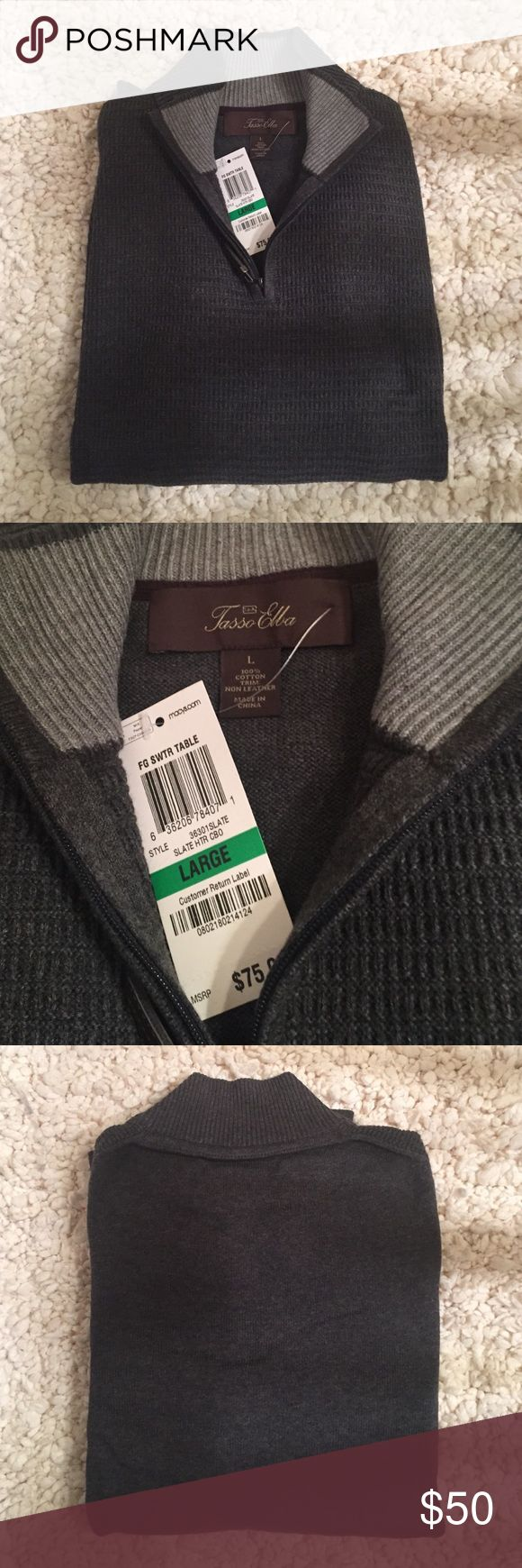 Men's dart Gray Tasso Ella half zip sweater Brand New! perfect Christmas gift for your husband, father, or son! 100% cotton. Tasso Elba Sweaters