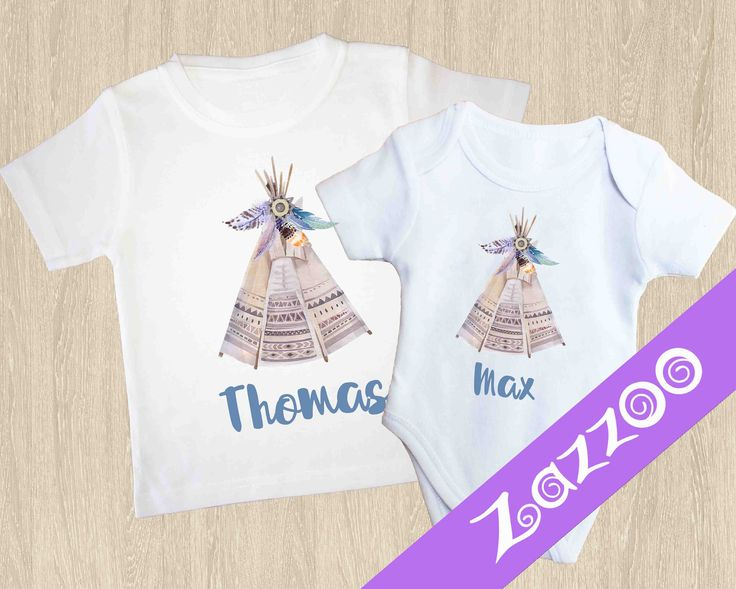 Personalized Onesie or T-shirt, Personalized Bodysuit, Personalized Romper, Customized onesie, Name onesie, Teepee T-shirt, Boho Top by Zazzoo on Etsy