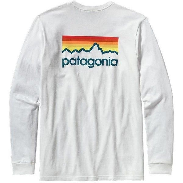 Patagonia Men's Line Logo Cotton Long Sleeve Tshirt ($45) ❤ liked on Polyvore featuring mens, men's clothing, men's shirts, men's t-shirts and white