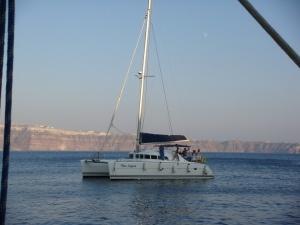 Santorini Sailing boat off the coast of Santorini, Greece
