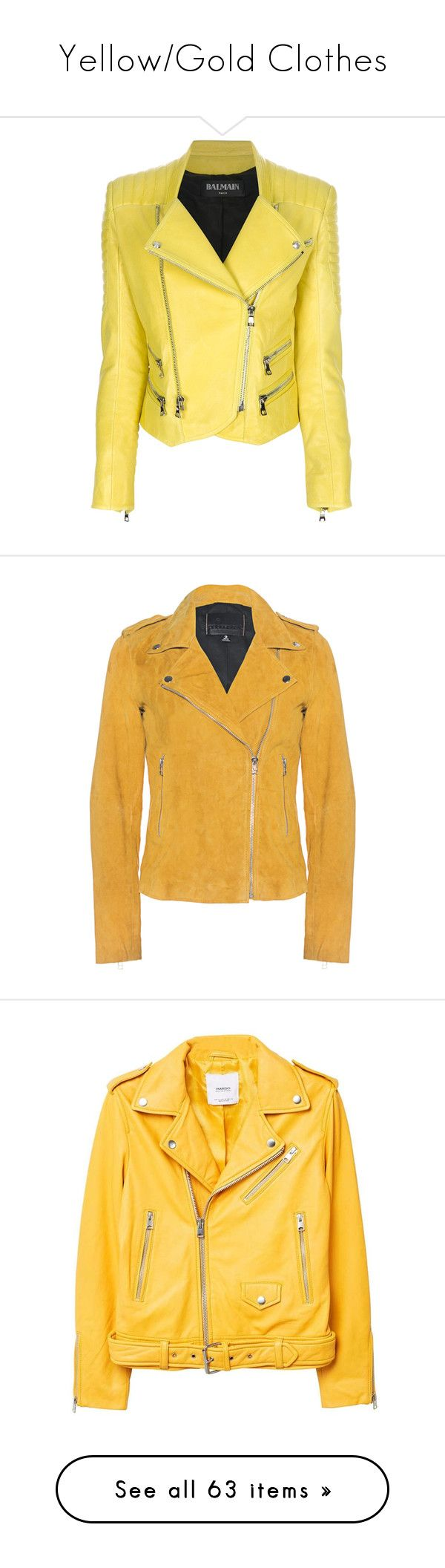 """""""Yellow/Gold Clothes"""" by carlou863 on Polyvore featuring outerwear, jackets, coats, balmain, leather jacket, rider leather jacket, fitted leather jacket, motorcycle jacket, moto jacket et yellow leather jacket"""
