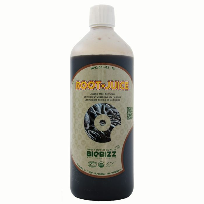 BioBizz Root-Juice:  Root-Juice is a 100% vegetable based all-organic root stimulator that boosts existing root growth and encourages the development of new roots. It is very effective at creating an abundance of new roots when applied to rooted cuttings, but it can be used throughout the whole growing period to stimulate root growth and production.