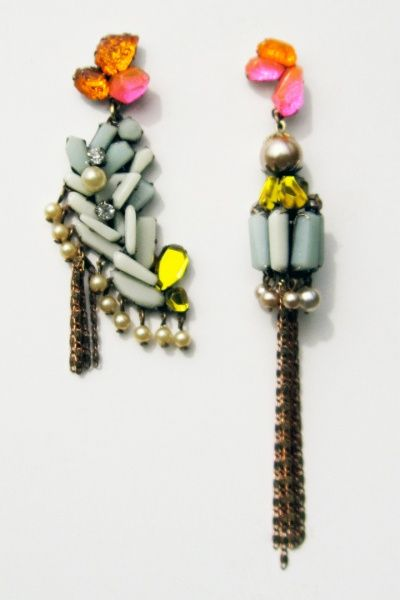 beautifully colored asymmetric earrings by nikki coupee, i'm never very thrilled by asymmetry but these earrings........!MLKBTTL