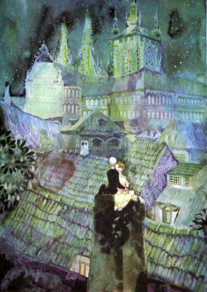 Illustration for The Shepherdess and the Chimney Sweep by Jiri Trnka