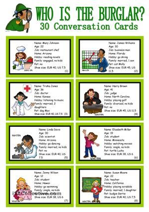 WHO IS THE BURGLAR? - 30 Conversation Cards - Roleplay - Class and ...