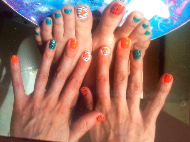Zebra stripes and Orange hearts makes pretty hands!!!