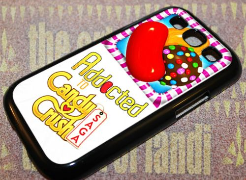 Addicted To Candy Crush For Samsung Galaxy S3 Black Rubber Case