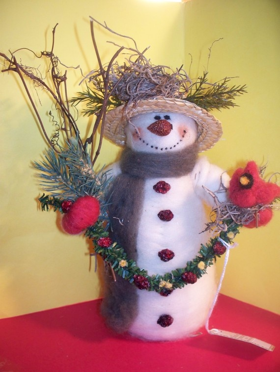 Sadie the Snowman with Cardinal of Felted Wool