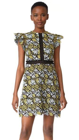Cynthia Rowley Кружевное платье с рукавами-крылышками