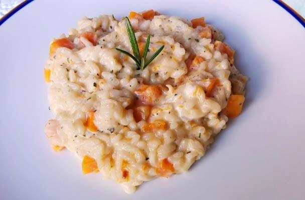Risotto alla zucca con mascarpone, rosmarino e acqua di fiori d'arancio - Parliamo di Cucina