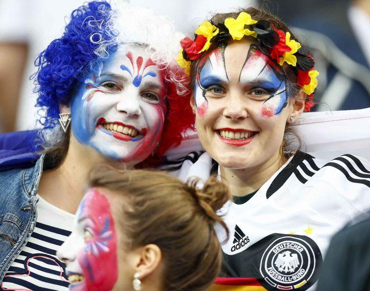 France and German Fans *** Local Caption *** Football Soccer - France v Iceland - EURO 2016 - Quarter Final - Stade de France, Saint-Denis near Paris, France - 3/7/16   - //PIXATHLON_1630.1121/Credit:Pixxmixx/Pixathlon/SIPA/1607041140