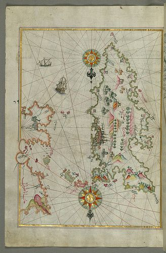 "Detailed map of Chios (Sakiz, Ṣāqiz) Island with its fortress and other topographical features, from Book on Navigation, Walters Art Museum Ms. W.658, fol.73a  Originally composed in 932 AH / 1525 CE and dedicated to Sultan Süleyman I (""The Magnificent""), this great work by Piri Reis (d. 962 AH / 1555 CE) on navigation was later revised and expanded. The present manuscript, made mostly in the late 11th AH / 17th CE cent"