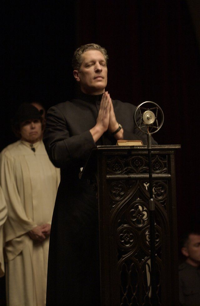 Brother Justin Crow (Clancy Brown) on Carnivàle.  Even after finding out Clancy Brown voiced Mr. Krabs from SpongeBob SquarePants it didn't stop his character from being scary to me.