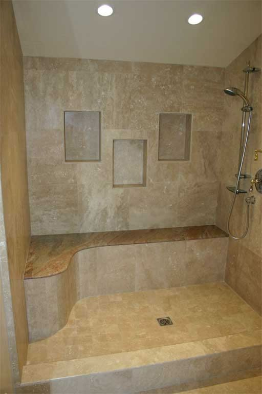 A huge shower with a bench a must have fog my new for Custom bathrooms