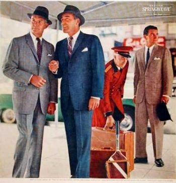 1950s mens summer fashion suits ad. Lightweight suits in a linen like blend.