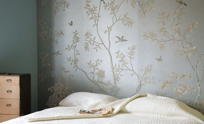 Modern chinoiserie 'Chinese Winter Garden' design from Misha wallpaper, hand painted on Silver painted silk.