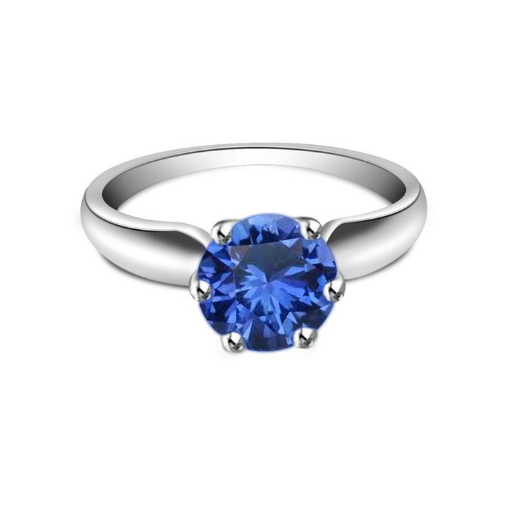 Christmas Offer .925 Sterling Silver Round Cut Blue Sapphire Solitaire Ring #eightyjewels #SolitaireRing #AnySpecialDay