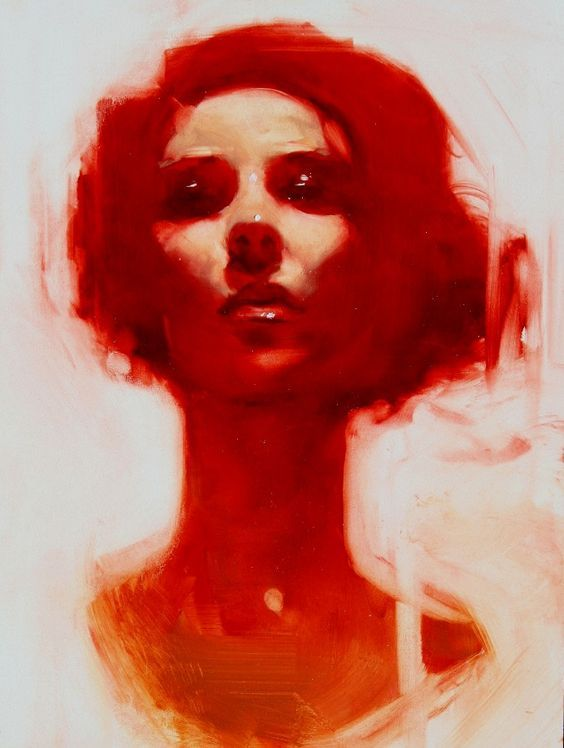 """Woman in Red"" - Michael Carson {contemporary figurative #expressionist artist beautiful female head face portrait painting}:"