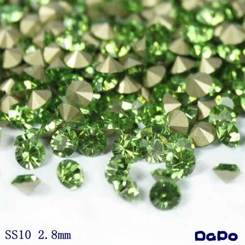 Find More Rhinestones Information about 1,440Pcs SS10 Pointed Back Chaton  Peridot Color Glass Rhinestones,High Quality rhinestone alloy,China rhinestone rhinestone Suppliers, Cheap rhinestone fashion from DaPo Rhinestone Co.,Ltd    on Aliexpress.com